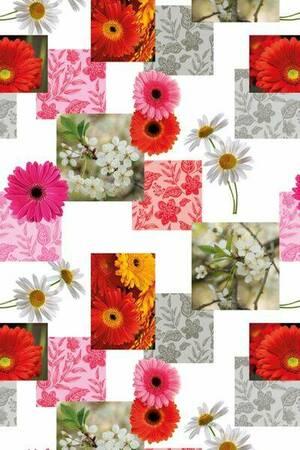Mušema 1.4x20m  316/1 bela osnova sa cvetovima